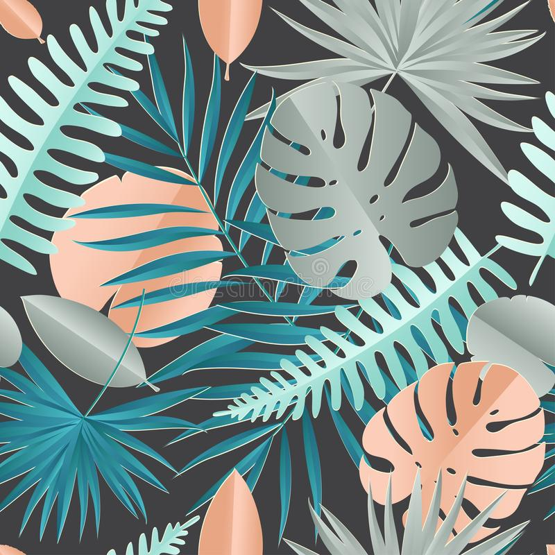 纸棕榈, monstera离开无缝的样式 热带的夏天 向量例证