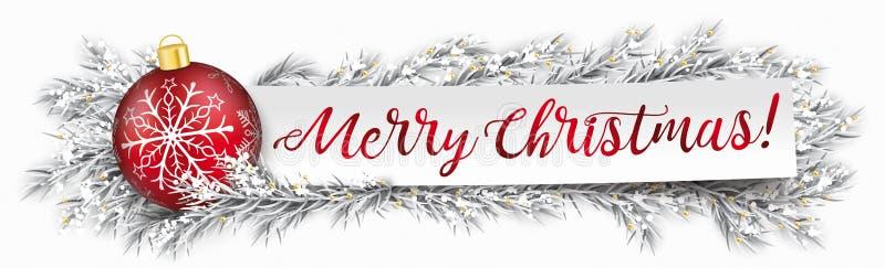纸横幅中看不中用的物品结冰的枝杈圣诞快乐 皇族释放例证