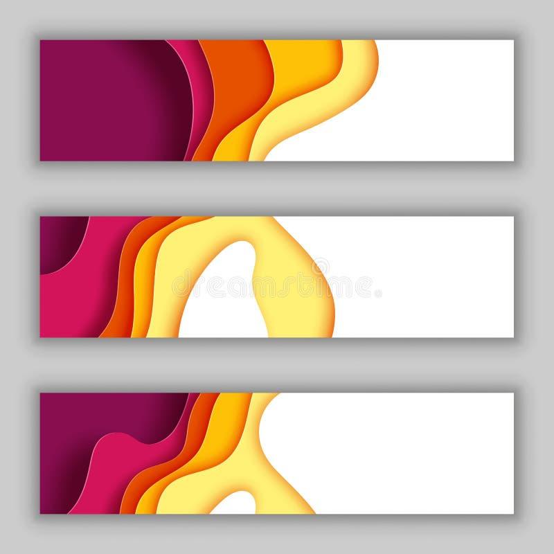 纸波浪层数有秋天颜色摘要背景 皇族释放例证