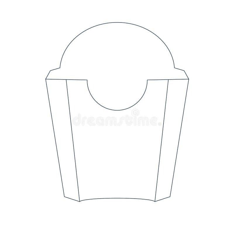 纸炸薯条把与时髦线型的正面图装箱 成套设计概念图片