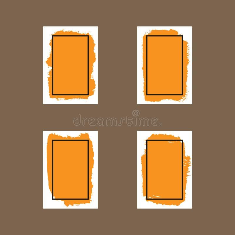 纸片与刷子冲程和语篇框架图的 套四隔绝了垂直的背景 皇族释放例证