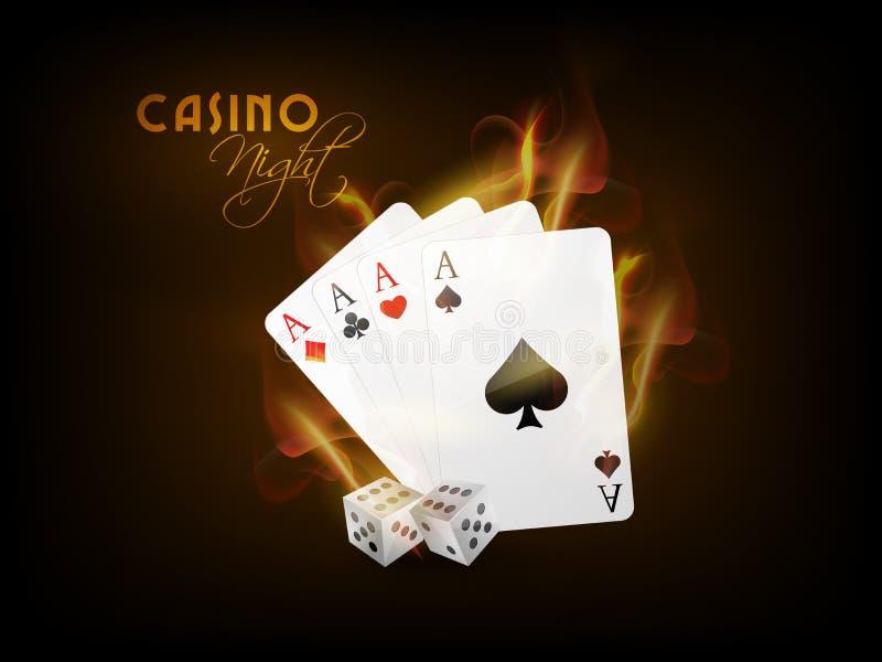 纸牌与在赌博娱乐场夜切成小方块 库存例证
