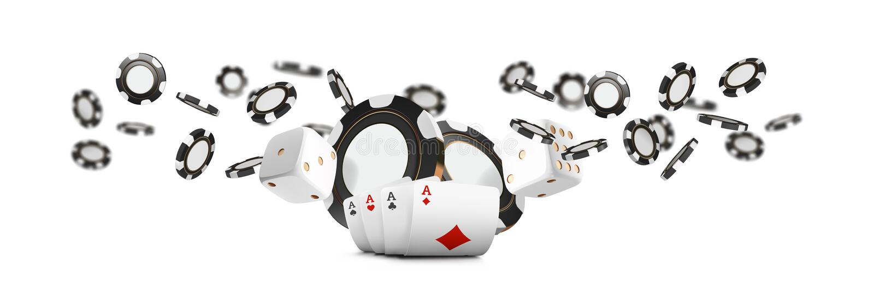 纸牌和纸牌筹码挂赌博娱乐场宽横幅 赌博娱乐场在白色背景的轮盘赌概念 啤牌赌博娱乐场传染媒介 皇族释放例证
