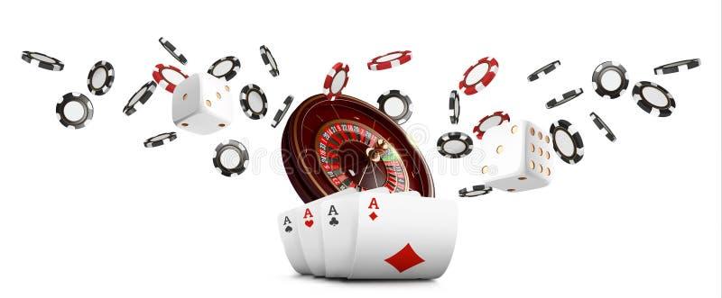 纸牌和纸牌筹码挂赌博娱乐场宽横幅 赌博娱乐场在白色背景的轮盘赌概念 啤牌赌博娱乐场传染媒介 库存例证
