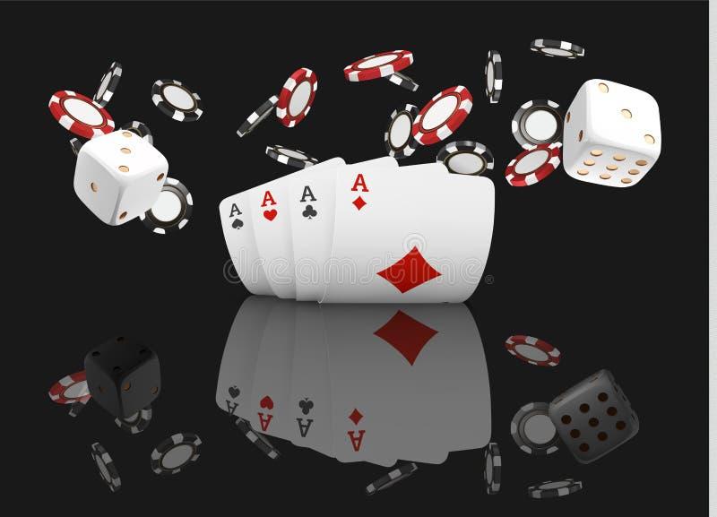 纸牌和纸牌筹码飞行赌博娱乐场 在黑背景的概念 啤牌赌博娱乐场例证 红色和blac 皇族释放例证