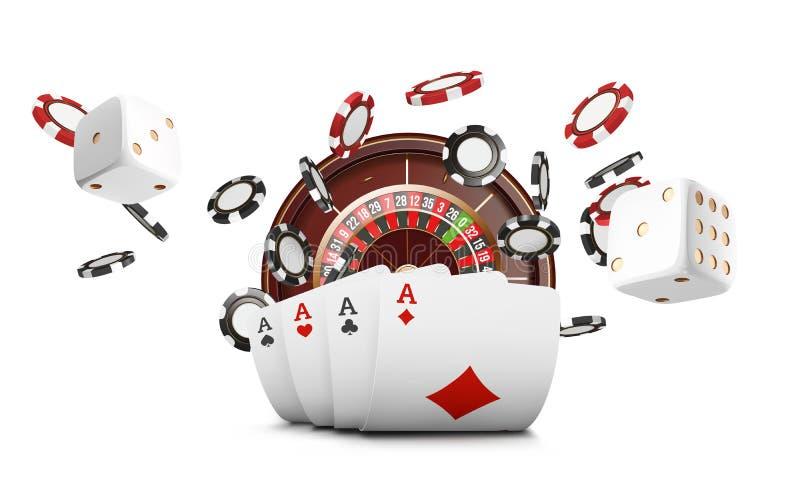 纸牌和纸牌筹码飞行赌博娱乐场 赌博娱乐场在白色背景的轮盘赌概念 啤牌赌博娱乐场例证 再 库存例证