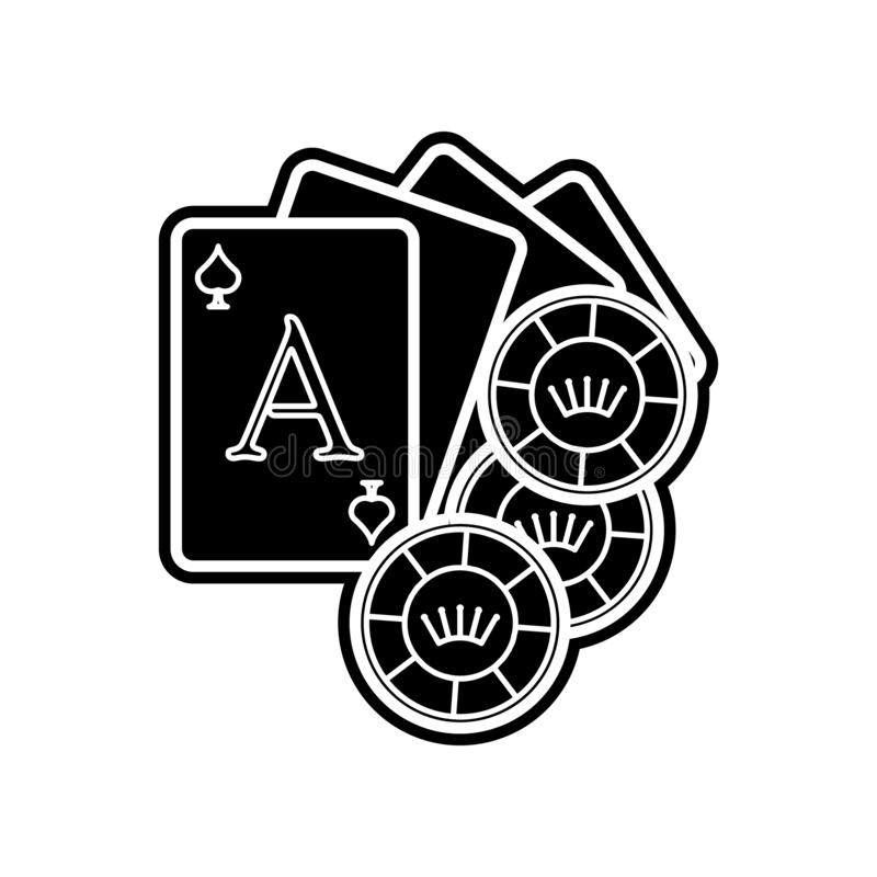 纸牌和芯片象 赌博娱乐场的元素流动概念和网应用程序象的 r 向量例证