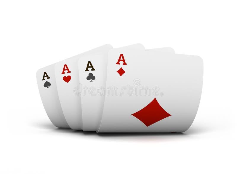 纸牌啤牌赌博娱乐场的组合 被隔绝的纸牌在白色背景的桌上 renderring的3d 皇族释放例证