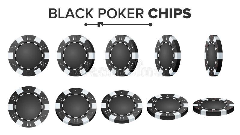 黑纸牌筹码传染媒介 现实集合 塑料圆的扑克牌游戏切削在白色的标志 轻碰不同的角度 库存例证
