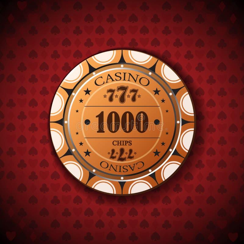 纸牌筹码名词性的词,一千在卡片标志背景 库存例证
