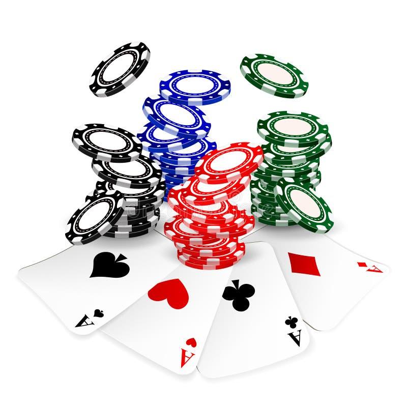 纸牌筹码和卡片 向量例证