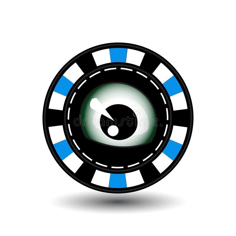 纸牌筹码圣诞节 蓝色 眼睛在中部看 例证 站点的用途,打印,纸,布料,装饰 向量例证