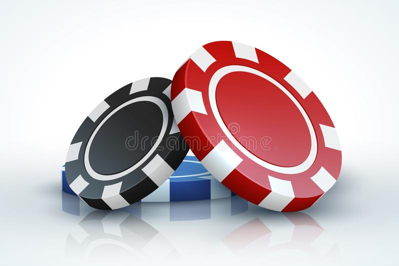 纸牌筹码 赌博3D现实使用的芯片的赌博娱乐场隔绝在白色,网上赌博娱乐场比赛概念 向量例证