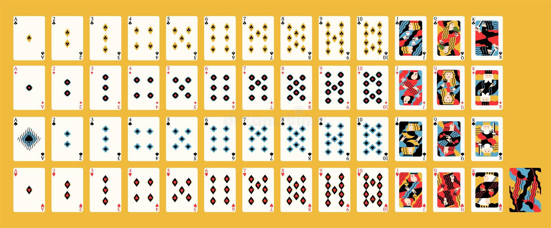 纸牌经典法国甲板创造性的当代艺术性的设计与传统衣服的赌博娱乐场比赛的 皇族释放例证