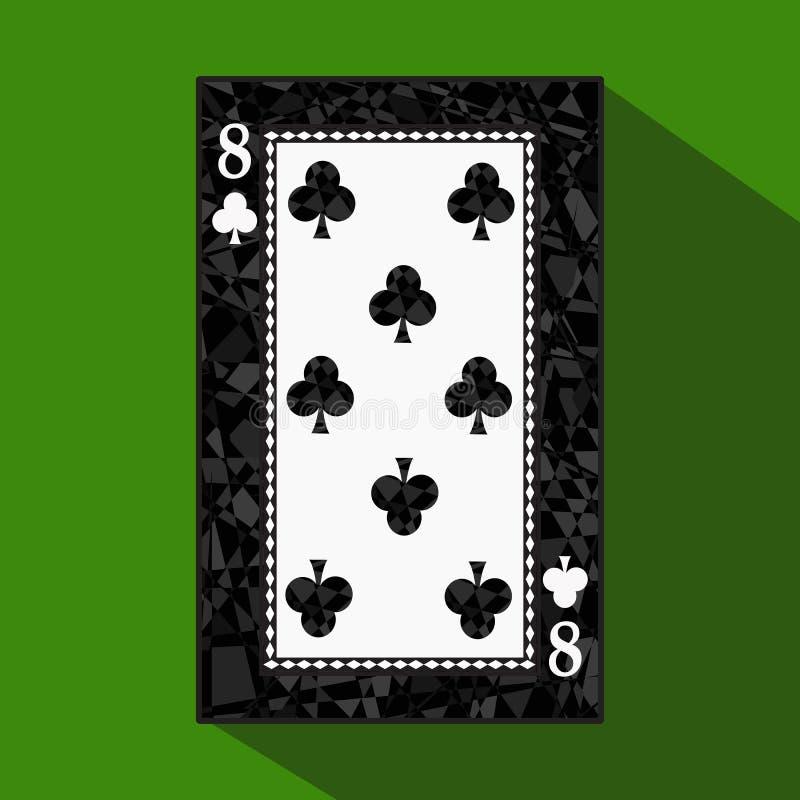 纸牌 象图片是容易 俱乐部八8关于黑暗的区域界限 在绿色背景的一个例证 applic 皇族释放例证