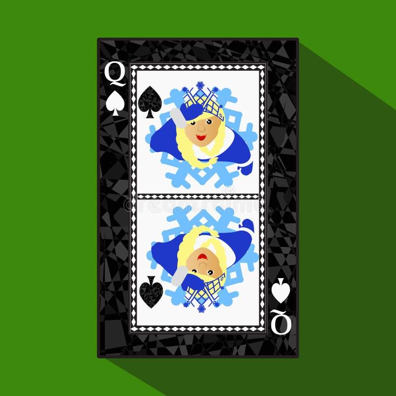 纸牌 象图片是容易 高峰spide女王/王后 新年MISISS圣诞老人女孩 圣诞节主题 关于黑暗的雷希奥 向量例证