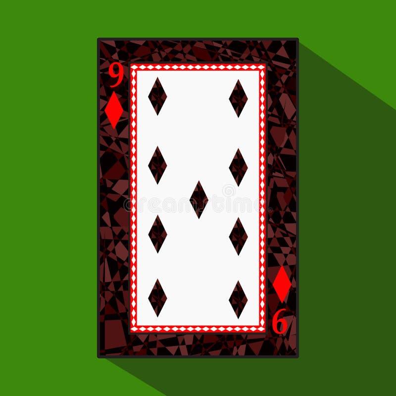 纸牌 象图片是容易 DIAMONT九9关于黑暗的区域界限 在绿色背景的一个例证 Appl 库存例证
