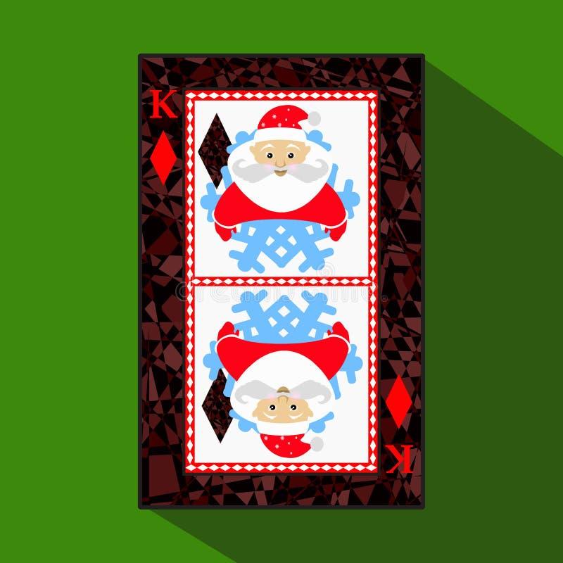 纸牌 象图片是容易 DIAMONT国王 新年圣诞老人 圣诞节主题 关于黑暗的区域界限 一vecto 皇族释放例证