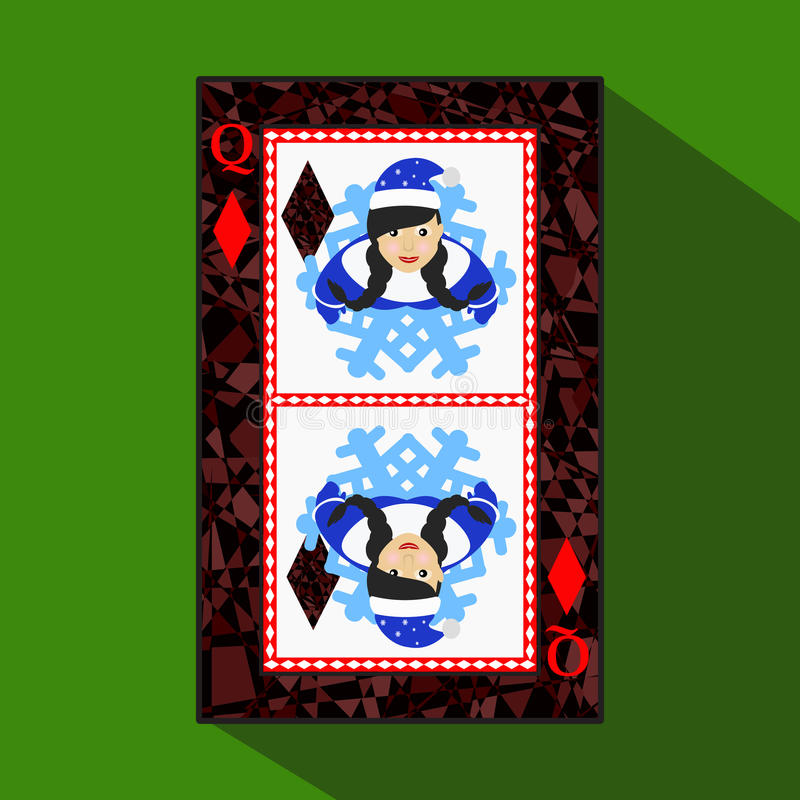 纸牌 象图片是容易 DIAMONT女王/王后 新年MISISS圣诞老人女孩 圣诞节主题 关于黑暗的区域b 向量例证