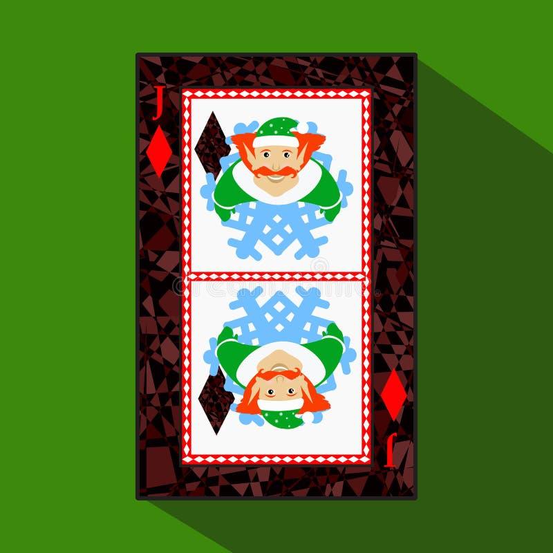 纸牌 象图片是容易 DIAMONT杰克说笑话者新年矮子 圣诞节主题 关于黑暗的区域界限 i 向量例证
