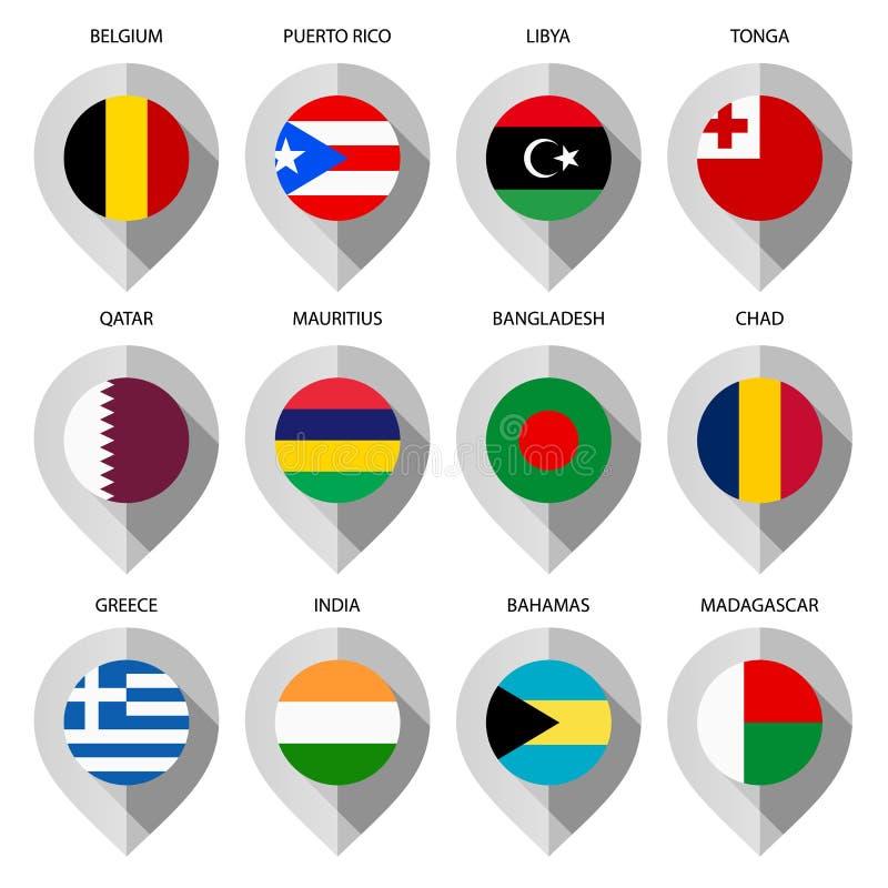 从纸的标志与地图的旗子-设置第九 库存例证