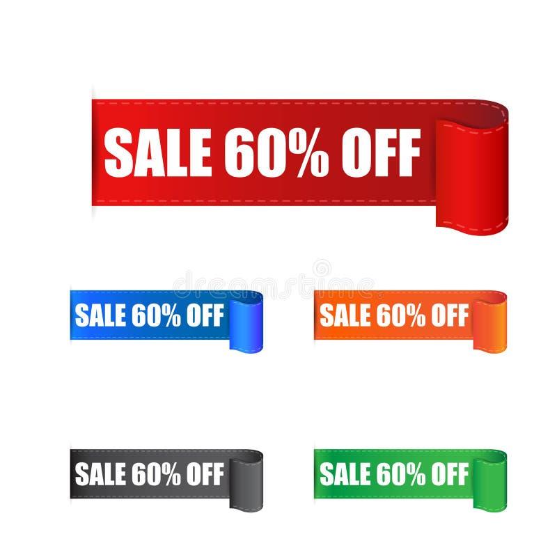 贴纸的销售60% 标签在白色backgro的传染媒介例证 皇族释放例证