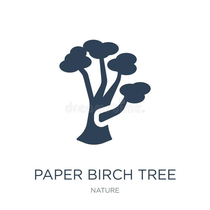 纸皮桦在时髦设计样式的树象 纸皮桦在白色背景隔绝的树象 纸皮桦树传染媒介象 向量例证