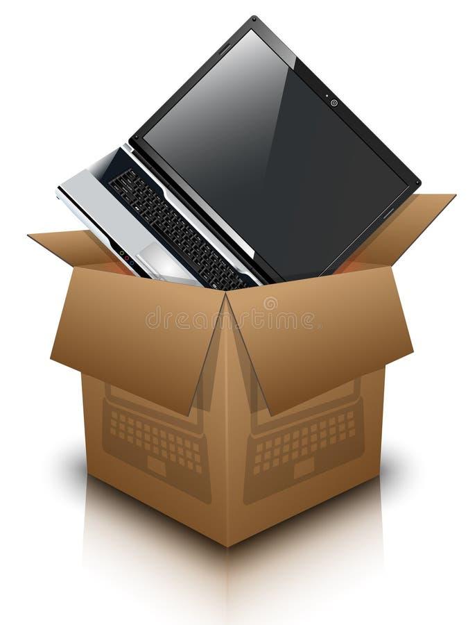 纸盒箱子和膝上型计算机 皇族释放例证