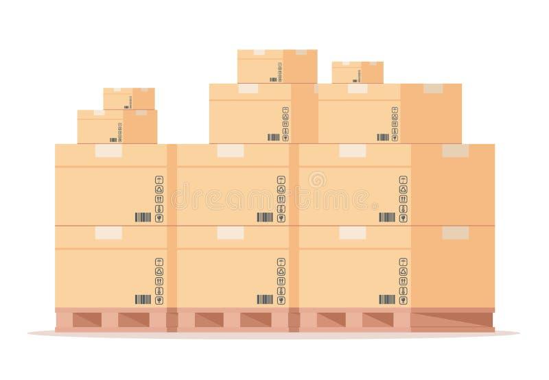 纸盒箱式托盘 平的仓库纸板包裹堆,在存贮的正面图运输的小包 E 库存例证