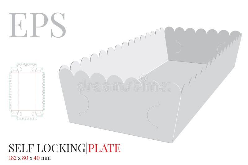 纸碟模板 与冲切的/激光插队的传染媒介 没有胶浆的自已锁成套设计 薯条镀 皇族释放例证