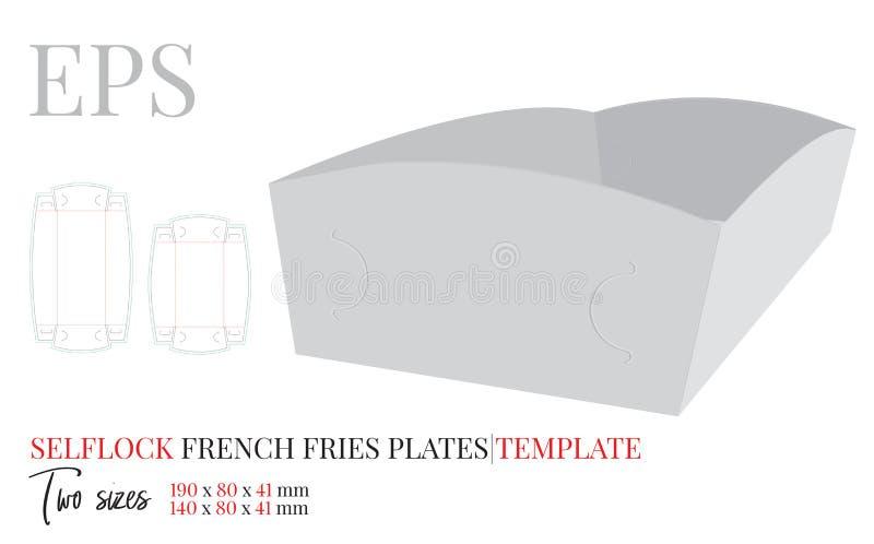 纸碟模板 与冲切的/激光插队的传染媒介 自已锁没有胶浆的成套设计 薯条镀 向量例证