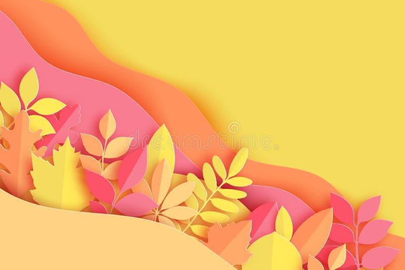 纸秋天槭树,橡木和其他离开并且挥动淡色colore 库存例证