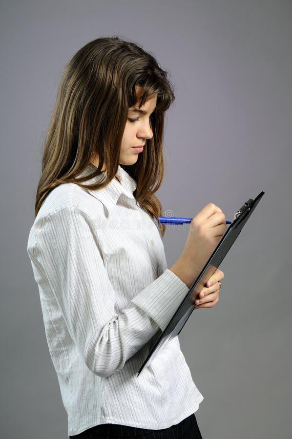 纸笔少年空白文字 免版税库存照片