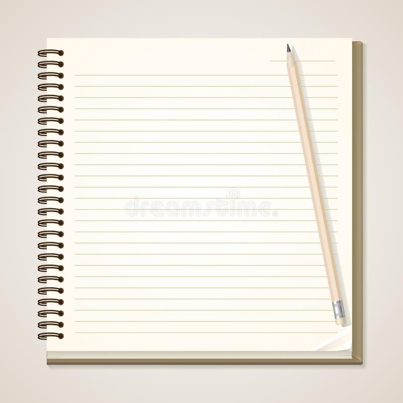 纸笔记本和铅笔 库存例证