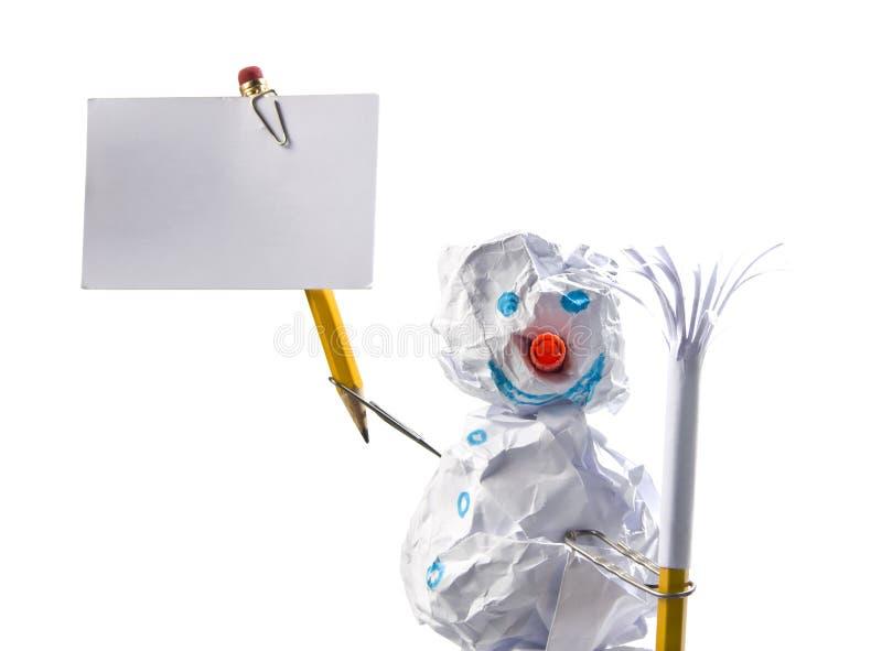 纸符号雪人 免版税库存图片