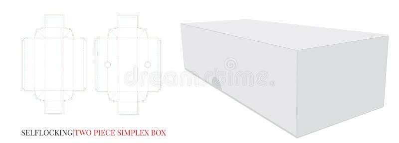 纸箱,自已锁,两个片断,没有胶浆 与冲切的层数的传染媒介 库存例证