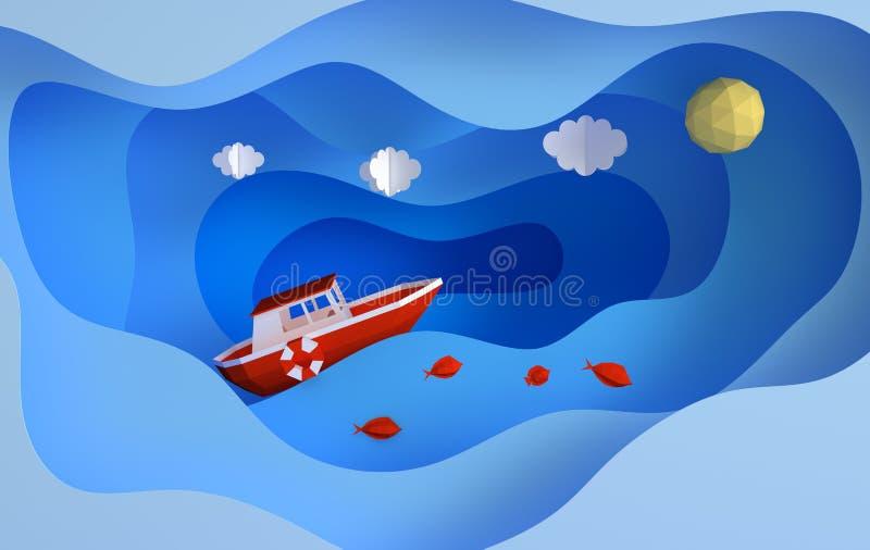 纸红色小船航行在海洋或海,云彩,sunn,鱼,旅行概念 r 现代纸艺术样式3d 皇族释放例证