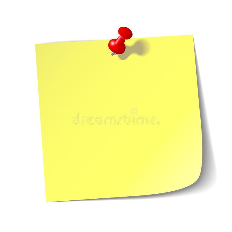 纸红色页图钉 库存例证