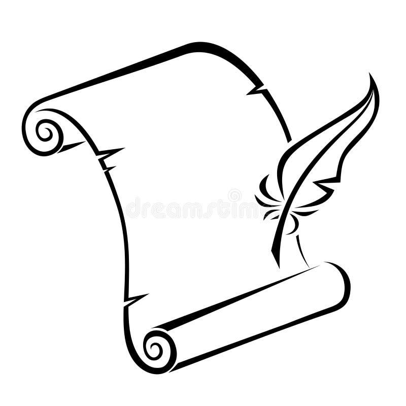 纸纸卷和羽毛笔黑剪影。 库存例证