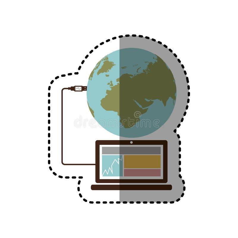 贴纸膝上型计算机全球性主持的数据库 皇族释放例证