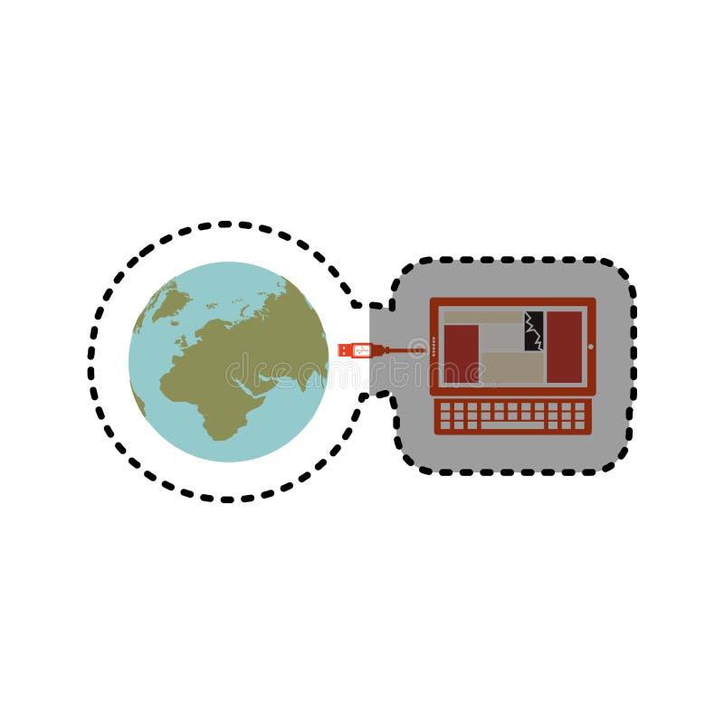 贴纸膝上型计算机全球性主持的数据库 向量例证