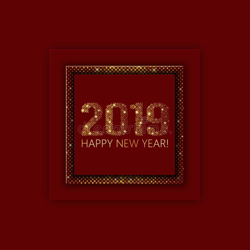 纸艺术动画片红色抽象卡片 圣诞节和2019新的yeaa 皇族释放例证