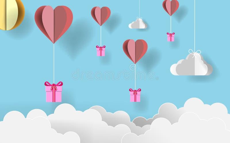 纸艺术华伦泰` s天 飞行与origami的纸origami礼物裱糊在糖果蓝天的心脏气球 例证 e 皇族释放例证