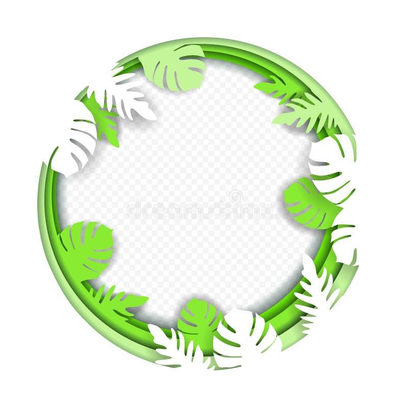 纸艺术在热带森林里雕刻构筑monstera叶子和其他异乎寻常的植物分支框架,被隔绝 Origami概念, 皇族释放例证