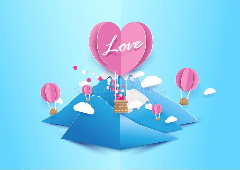 纸艺术样式心脏形状迅速增加与云彩的飞行 向量例证