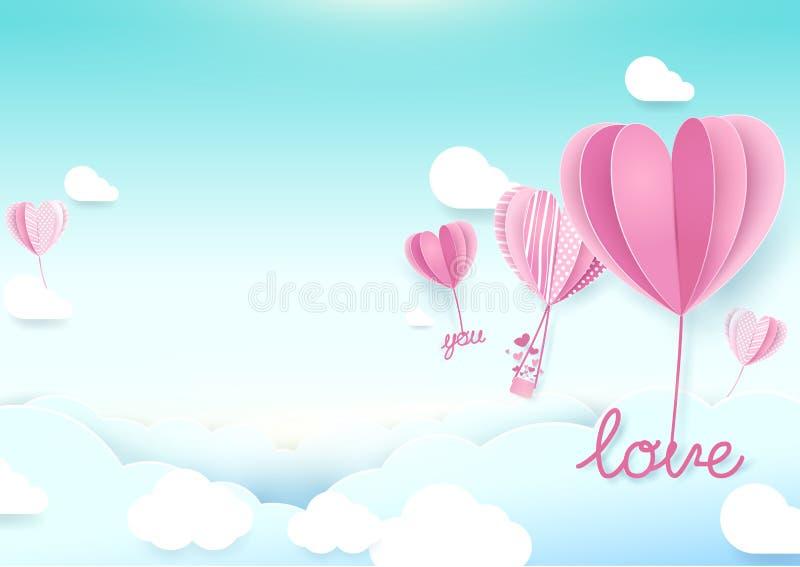 纸艺术样式心脏形状迅速增加在天空的飞行 库存例证