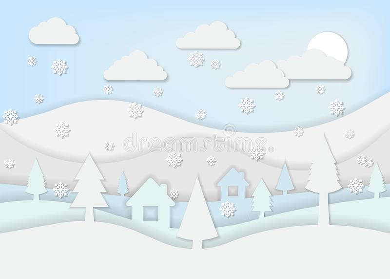 纸艺术样式的冬天风景 也corel凹道例证向量 皇族释放例证