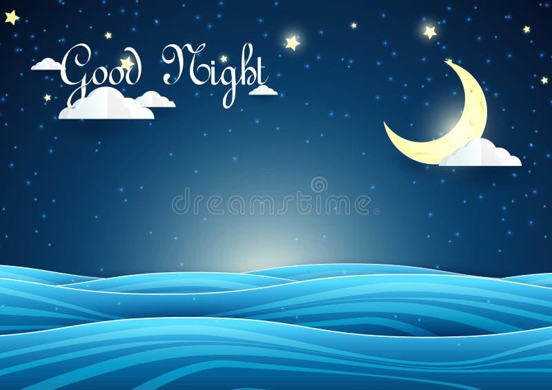 纸艺术样式 与星的夜空风景新月形月亮在海 向量例证