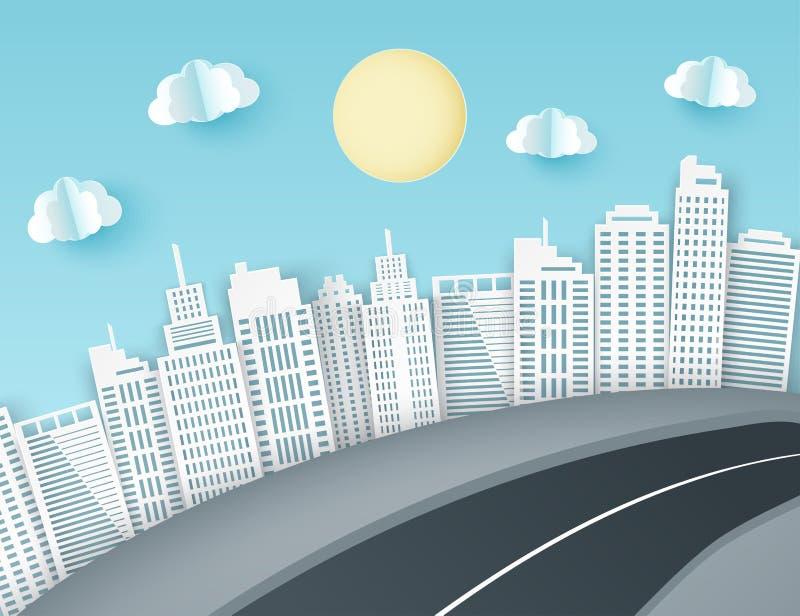 纸艺术背景有城市视图 蓬松纸云彩,路, 向量例证