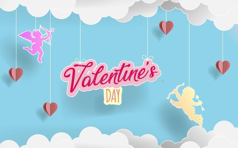 纸艺术alentine ` s天 爱飞行在origami纸云彩和心脏之间的天使在糖果背景中 例证 库存例证